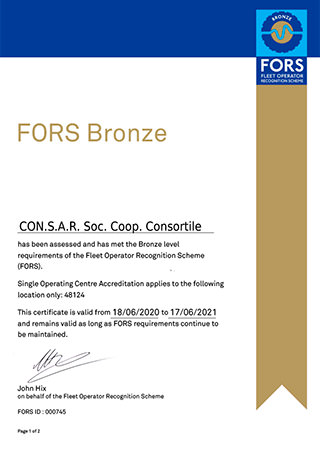 FORS - CERTIFICATE OF MEMBERSHIP BRONZE LEVEL